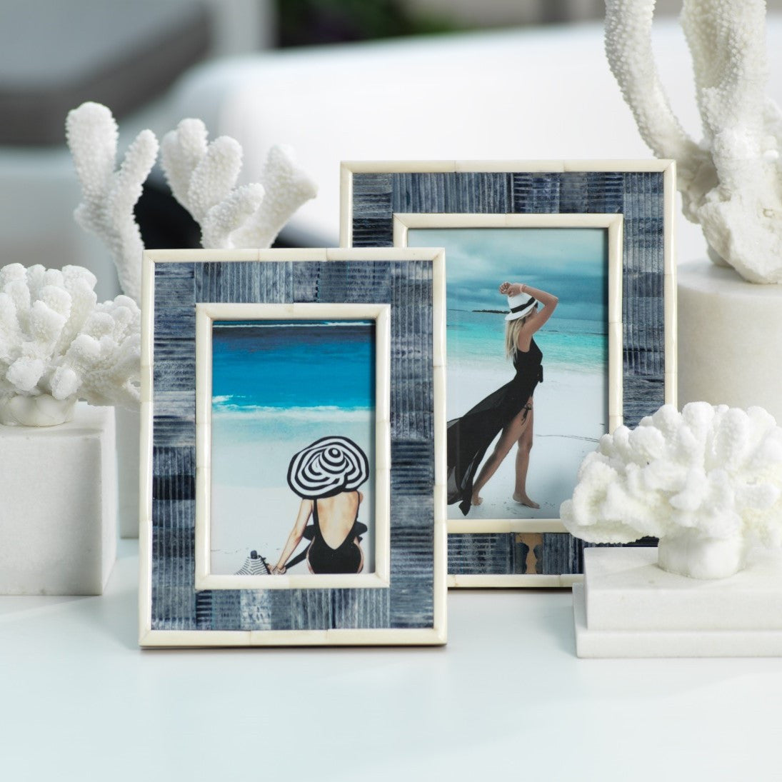 Mendocino Blue Carved Bone Photo Frame - CARLYLE AVENUE