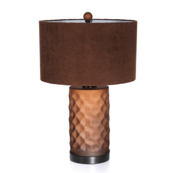 Rocco Glass and Iron Table Lamp - Amber