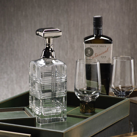Cut Glass Decanter w/ Nickel Stopper - Clearance