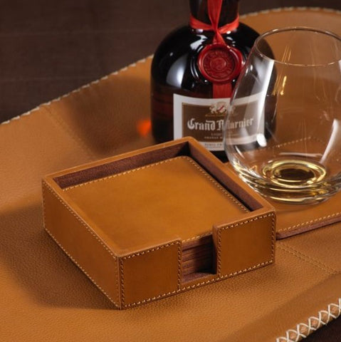 Leather Coasters Set/6 - Tan