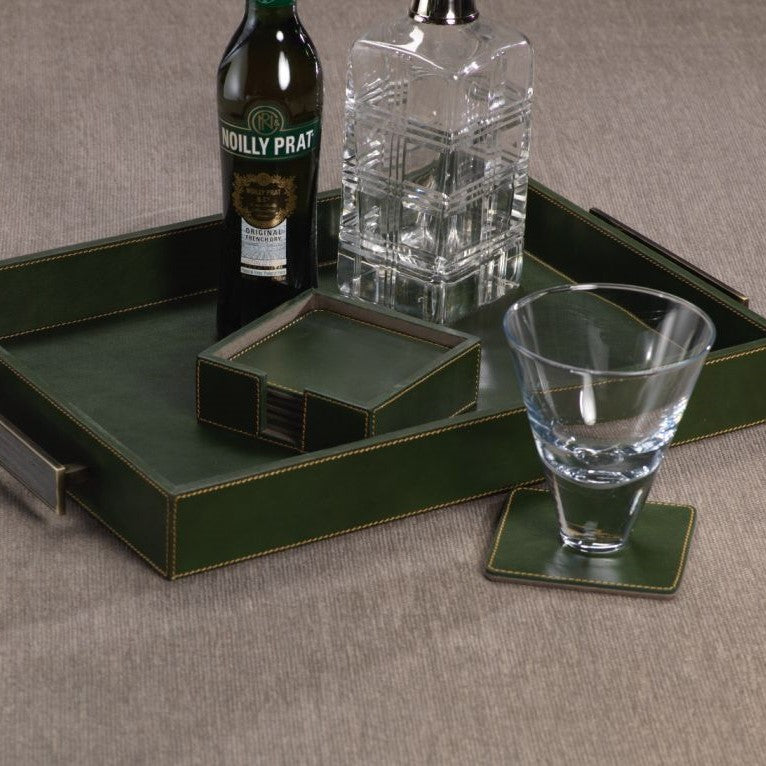 Leather Coasters Set/6 - Green - CARLYLE AVENUE