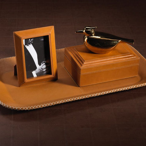 Leather Serving Tray - Tan