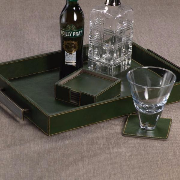 Rectangular Leather Tray w/ Handles - Green - CARLYLE AVENUE
