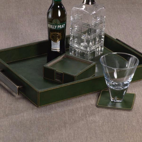 Rectangular Leather Tray w/ Handles - Green