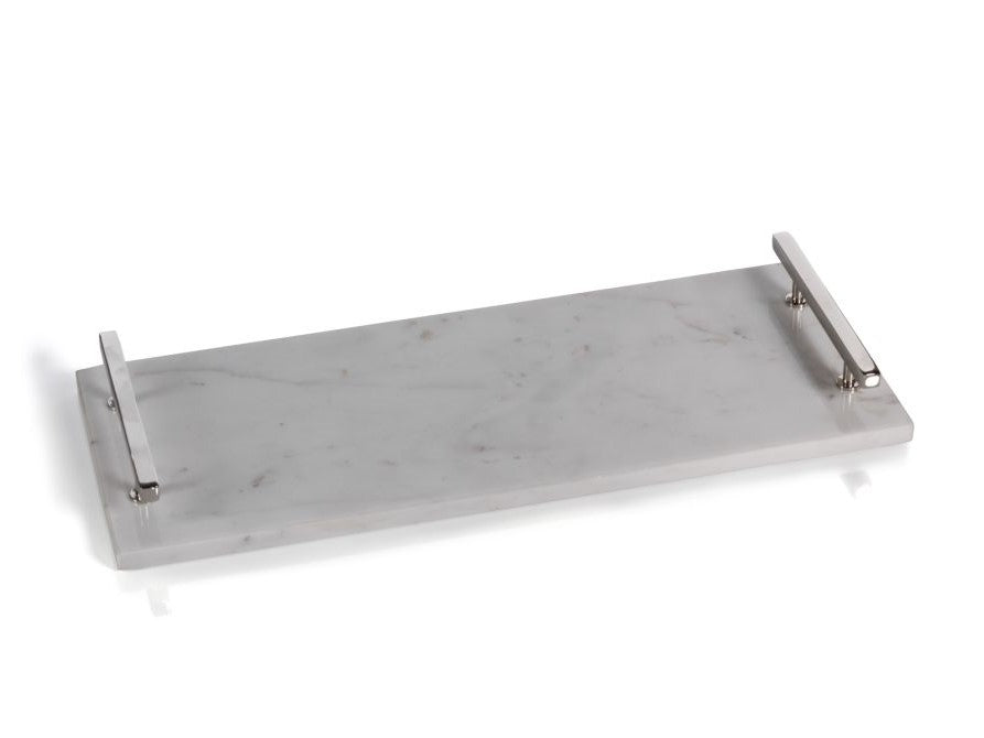 Rectangular Marble Tray with Nickel Handles - CARLYLE AVENUE