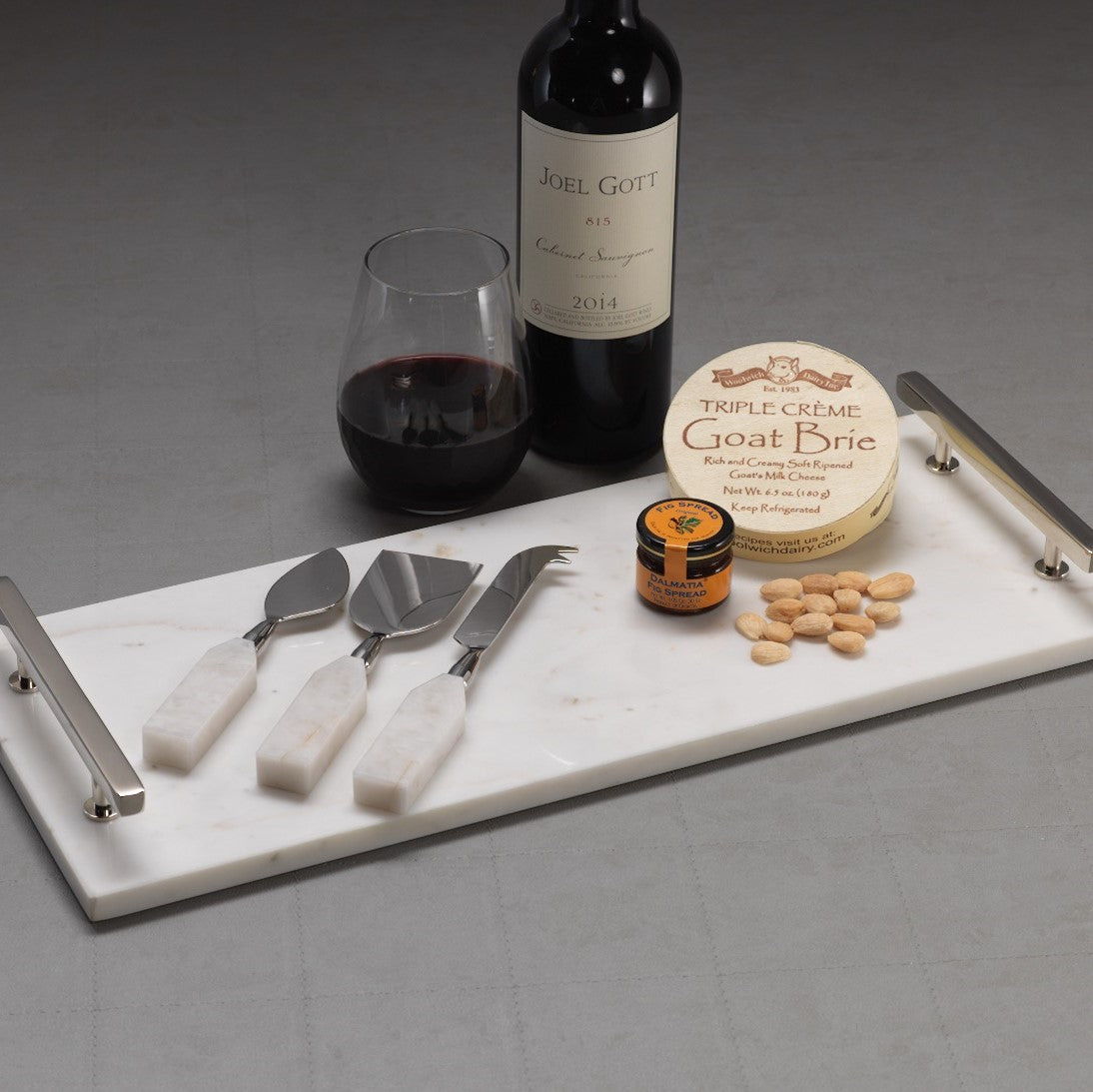 Rectangular Marble Tray with Nickel Handles
