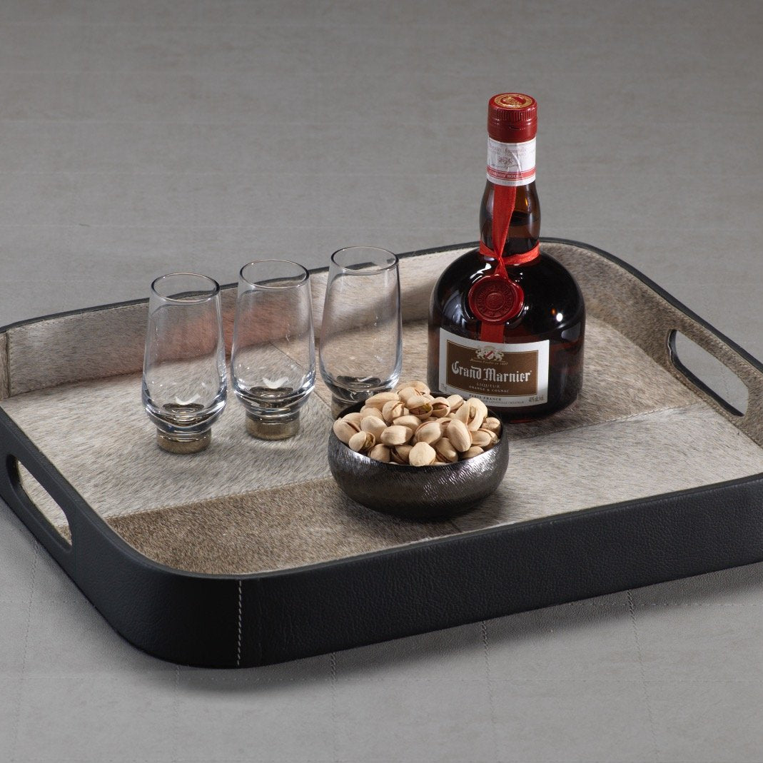 Aman Hairon and Black Leather Serving Tray - CARLYLE AVENUE