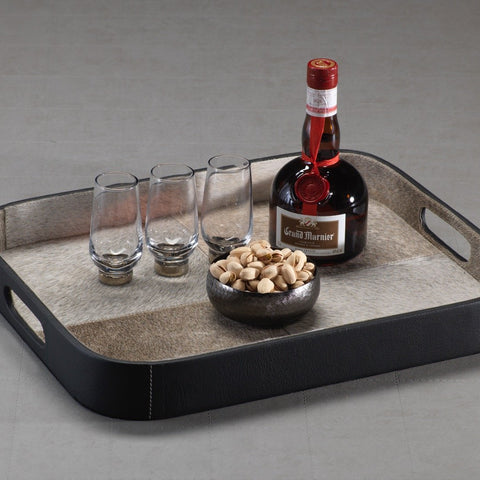 Aman Hairon and Black Leather Serving Tray