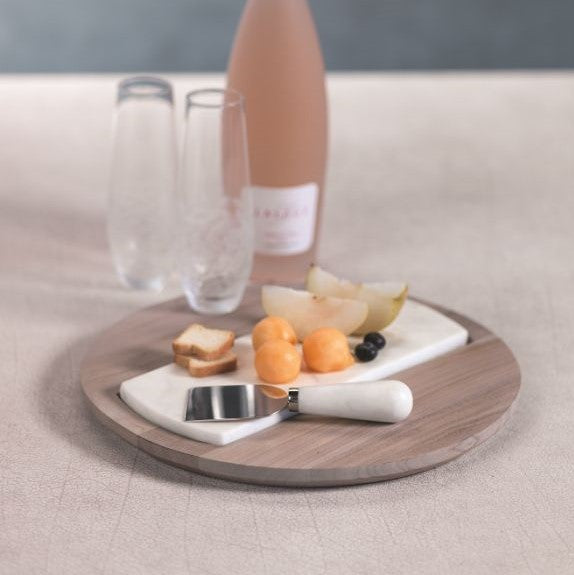 Viceroy Round Teak & Marble Cheese Platter - CARLYLE AVENUE