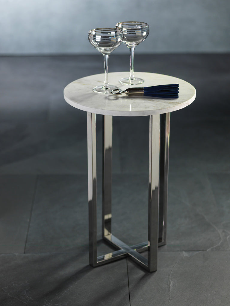 Amadora Cocktail Table-Marble on Nickel Base