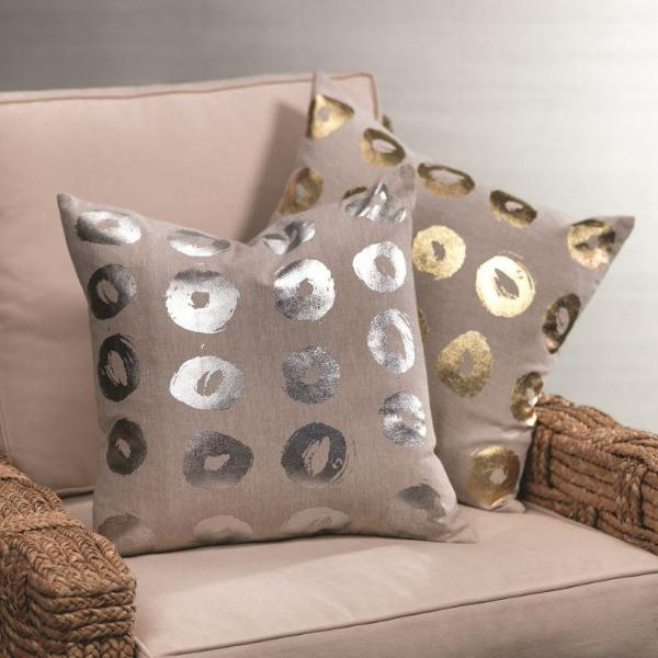 Foil Dot Cotton Linen Throw Pillow - CARLYLE AVENUE