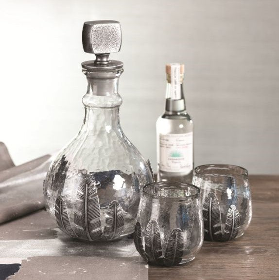 Saint Géran Metal Leaf Decanter and Tumblers