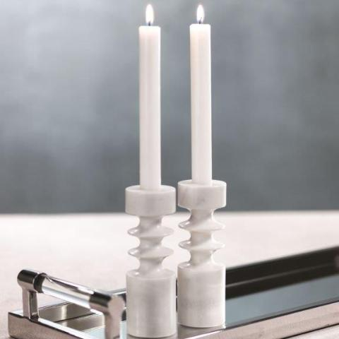 Tajah White Marble Candle Holder
