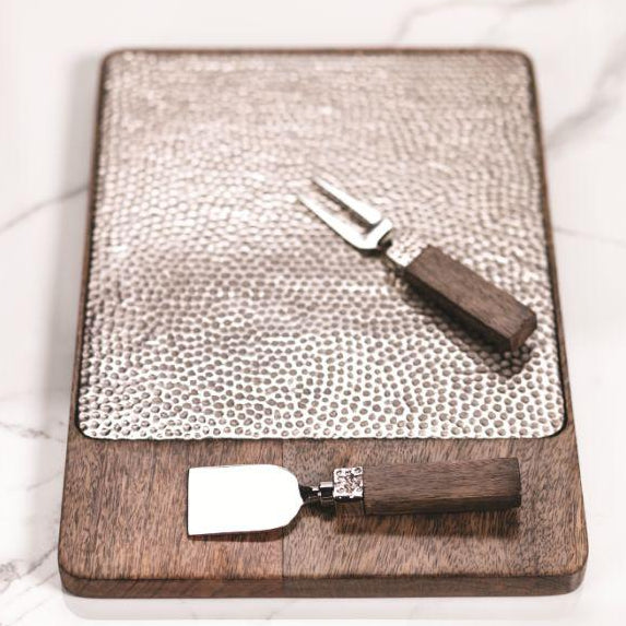 Mango Wood & Hammered Aluminum Cheese Tray - CARLYLE AVENUE