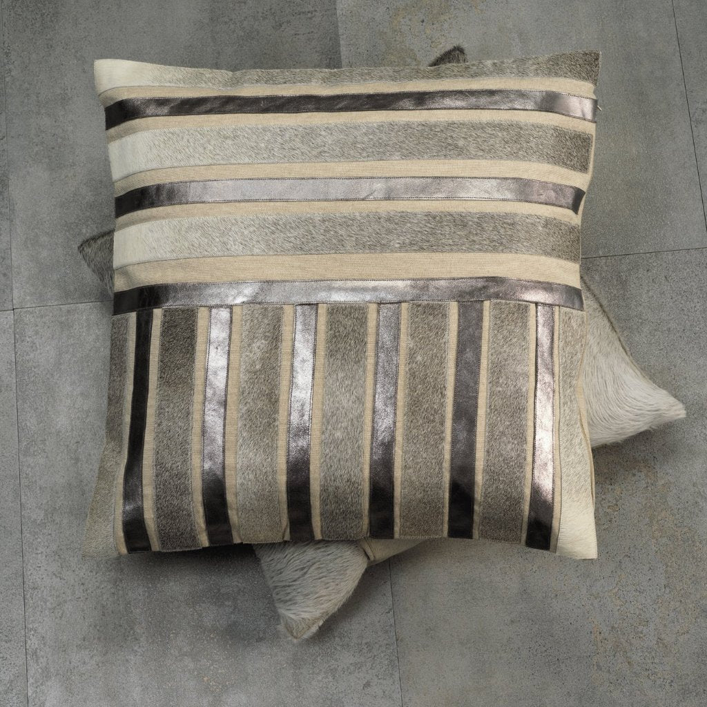 Aman Cotton & Hide Throw Pillow - Pewter Metallic Leather - CARLYLE AVENUE