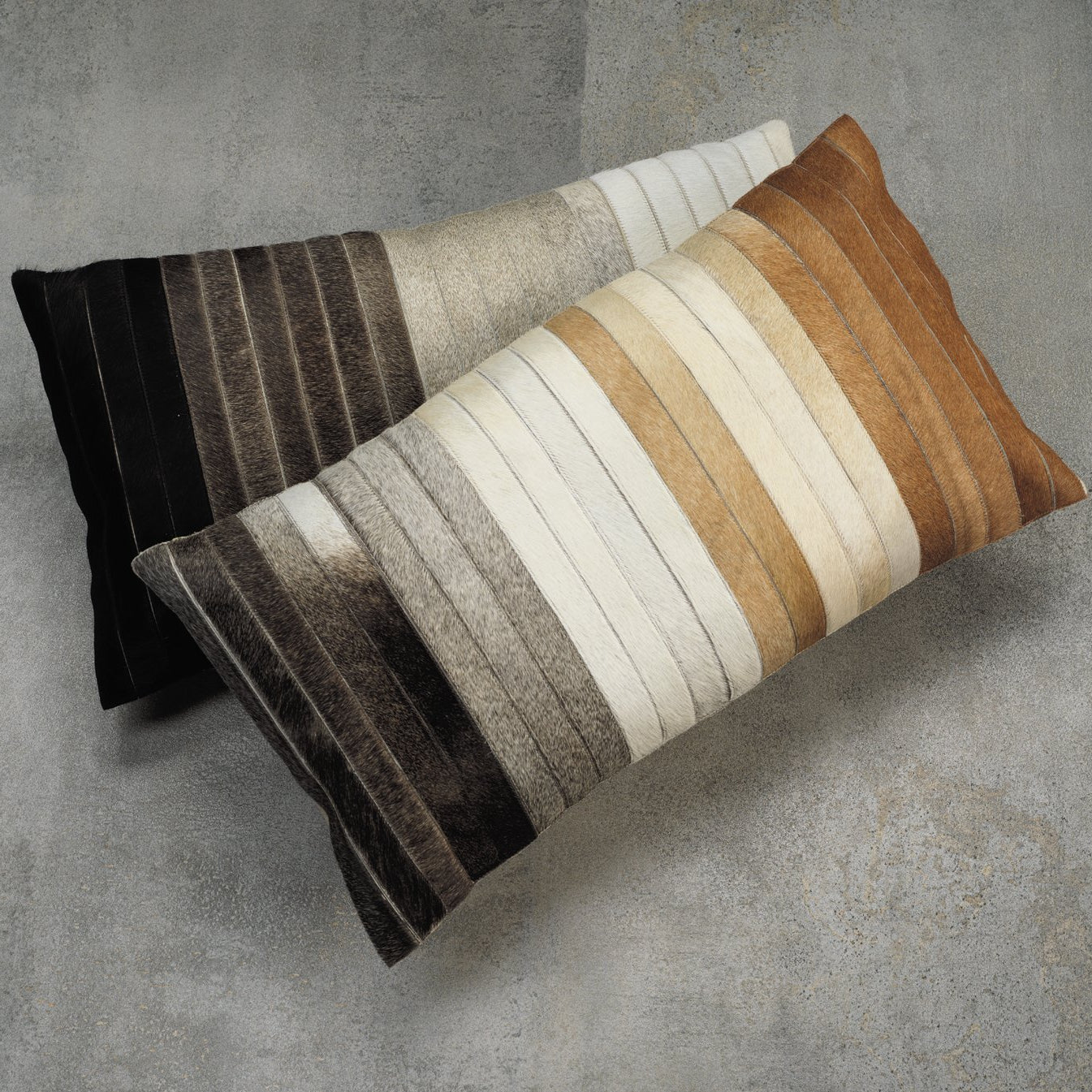 Aman Cotton & Hide Throw Pillow - Brown to Grey - CARLYLE AVENUE