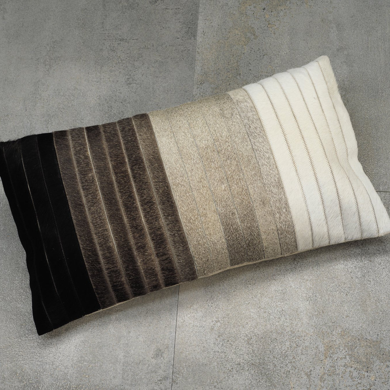 Aman Cotton & Hide Throw Pillow - Grey to Black - CARLYLE AVENUE