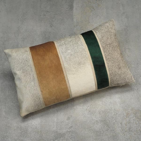 Aman Cotton & Hide Throw Pillow - Patchwork - CARLYLE AVENUE