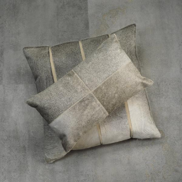Aman Cotton & Hide Throw Pillow - Grey Patchwork - CARLYLE AVENUE