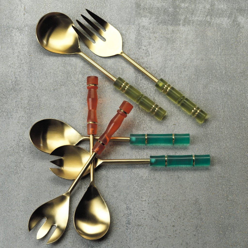 Resin and Gold Metal Salad Servers - CARLYLE AVENUE