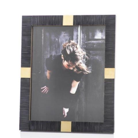 Maha Black Bone w/ Brass Trim Photo Frame