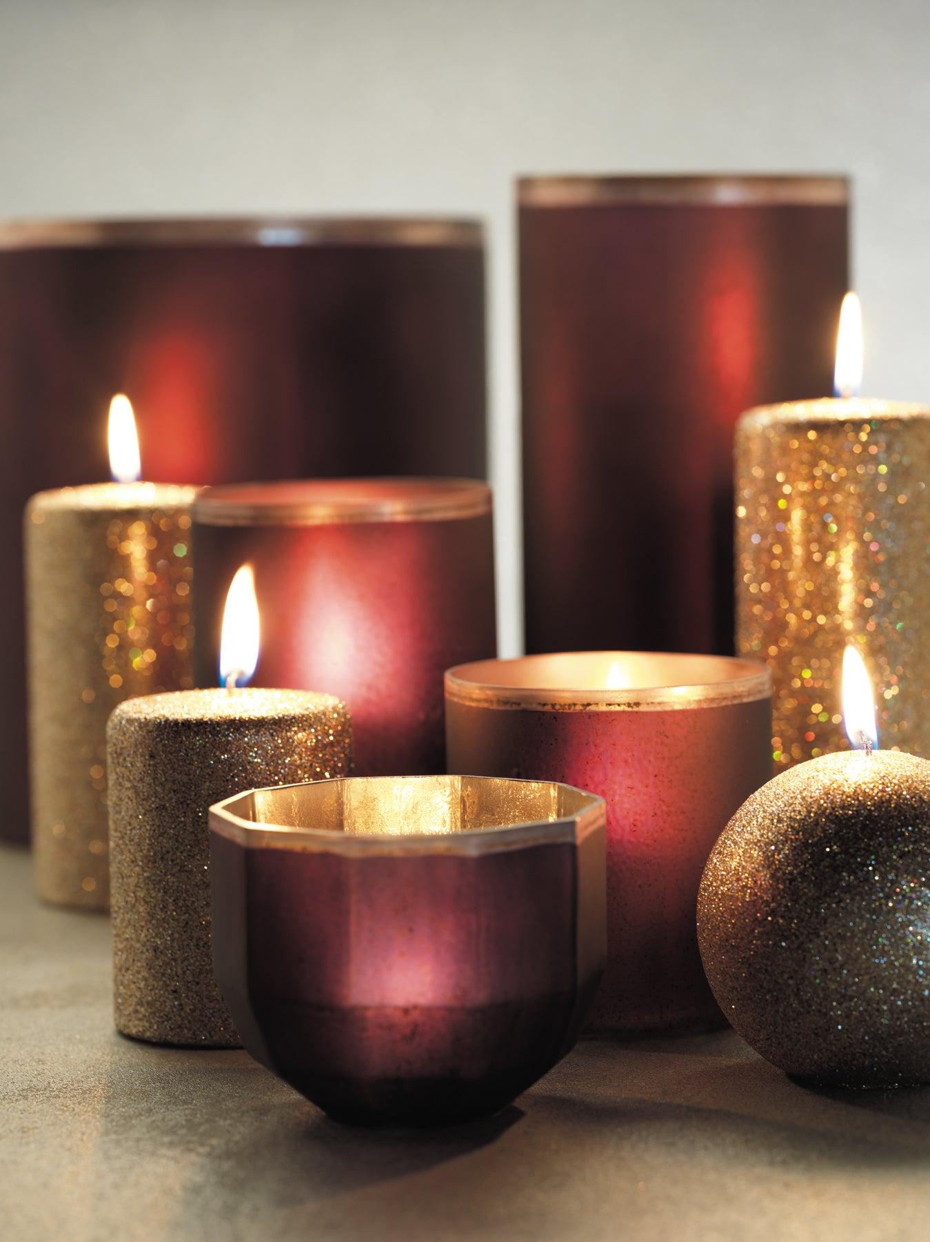 Emilie Faceted Mercury Candle Holders - Red - CARLYLE AVENUE
