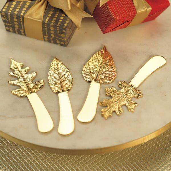 Set/4 Gold Leaf Cheese Spreaders