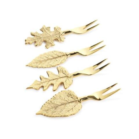 Set of Gold Leaf Cocktail Forks