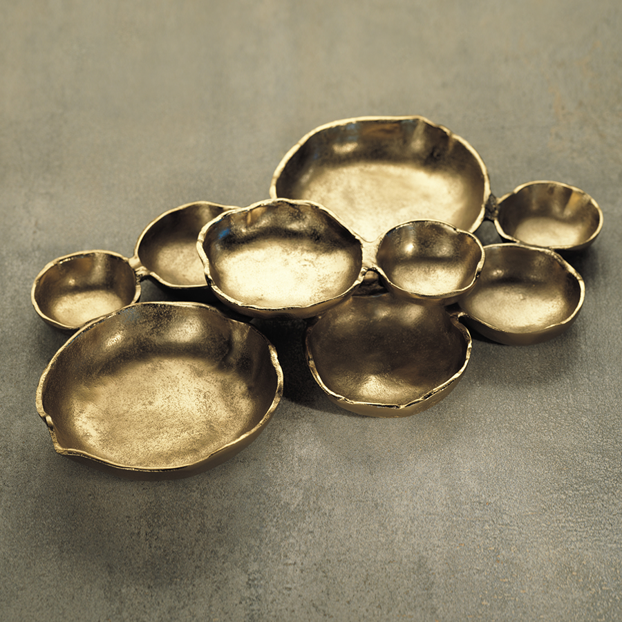 Cluster of Nine Serving Bowls - Dark Gold