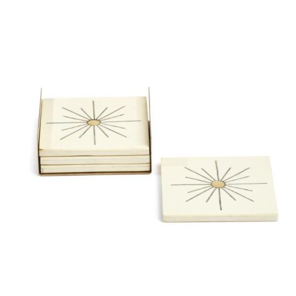 Modern Salé Coasters w/Brass Sun Inlay on Stand - CARLYLE AVENUE