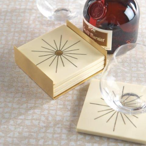 Modern Salé Coasters w/Brass Sun Inlay on Stand