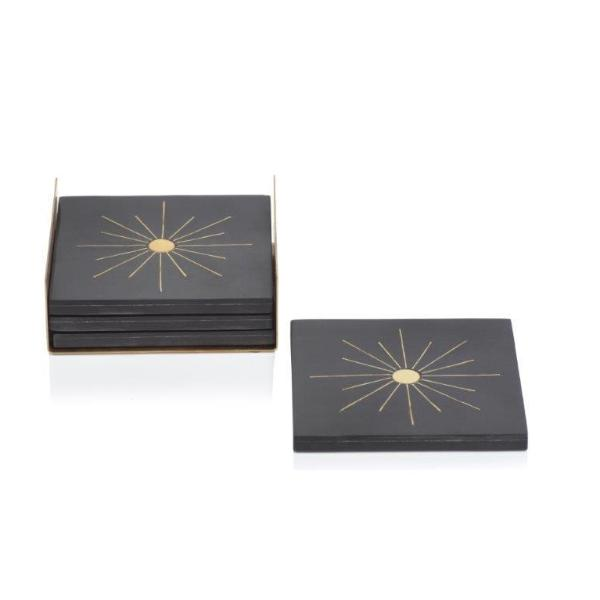 Modern Salé Coasters w/Brass Sun Inlay on Stand - Black - CARLYLE AVENUE