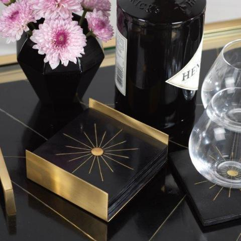 Modern Salé Coasters w/Brass Sun Inlay on Stand - Black