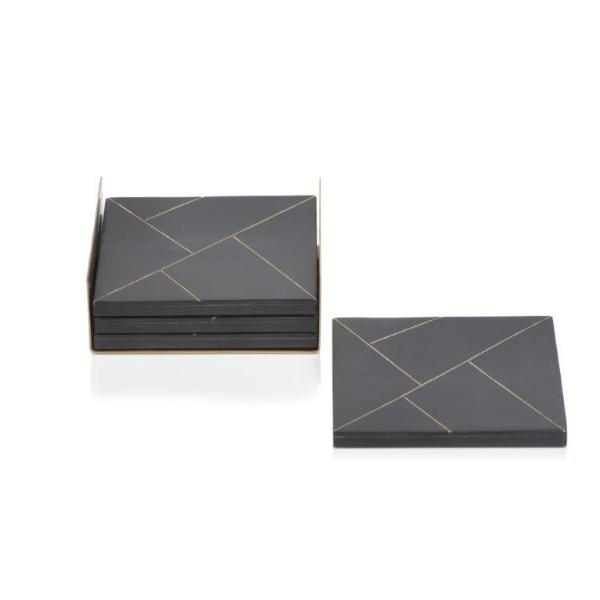 Modern Salé Coasters w/Brass Abstract Inlay