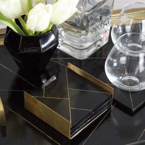 Modern Salé Coasters w/Brass Abstract Inlay - CARLYLE AVENUE