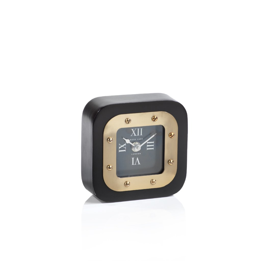 Mark Lane Table Clock - Black w/Gold - CARLYLE AVENUE