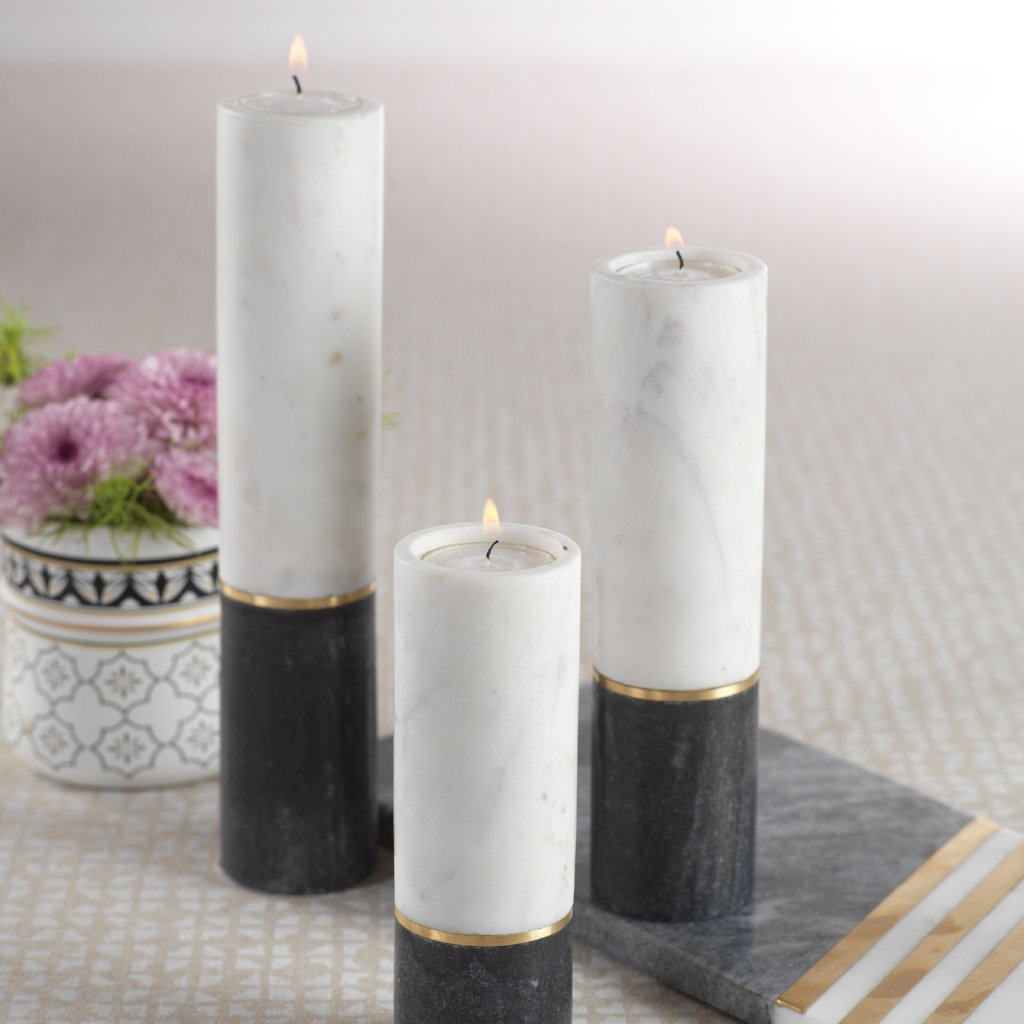 Makrana Two-Tone Marble Tealight Holder - CARLYLE AVENUE