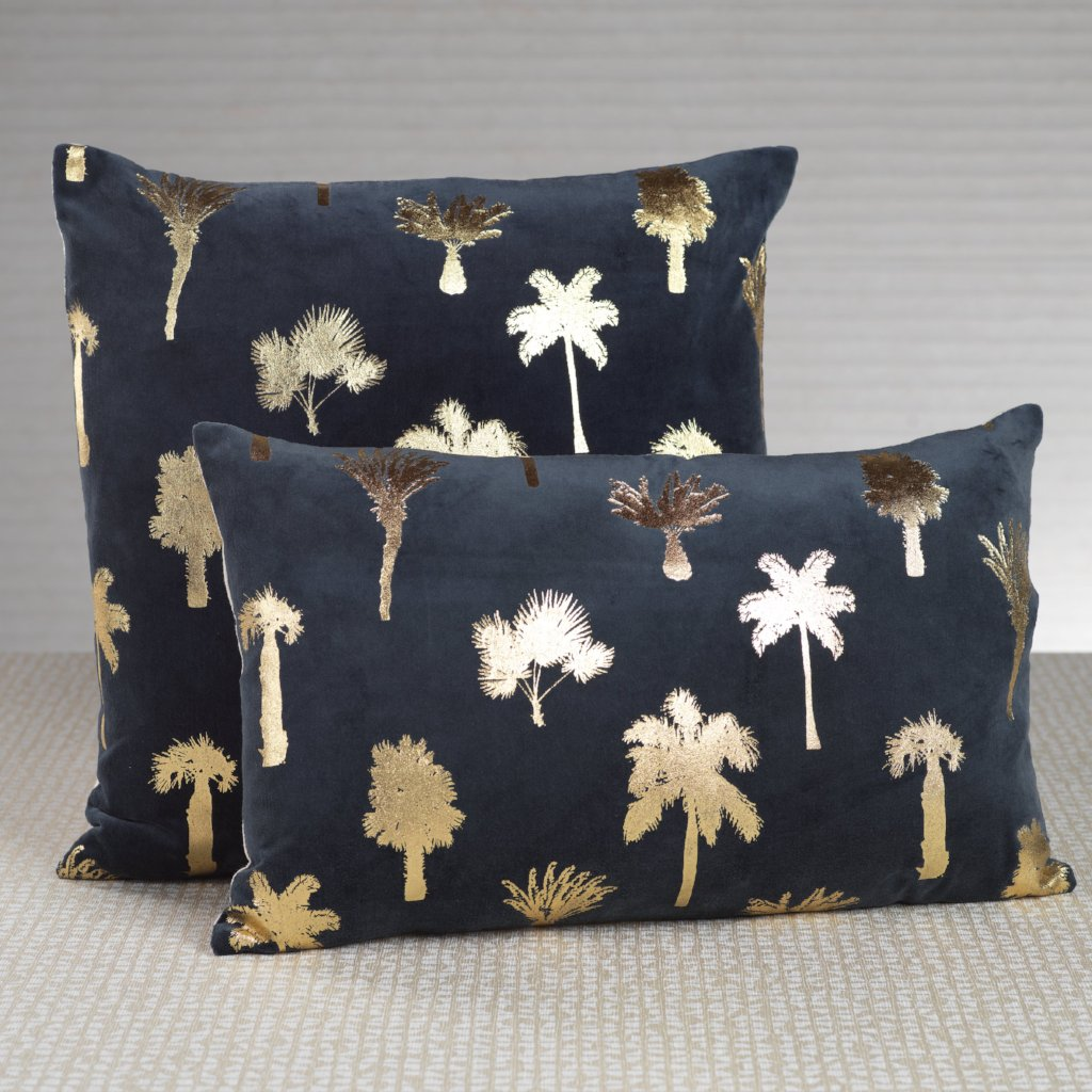Palmier Midnight Blue Throw Pillow - CARLYLE AVENUE