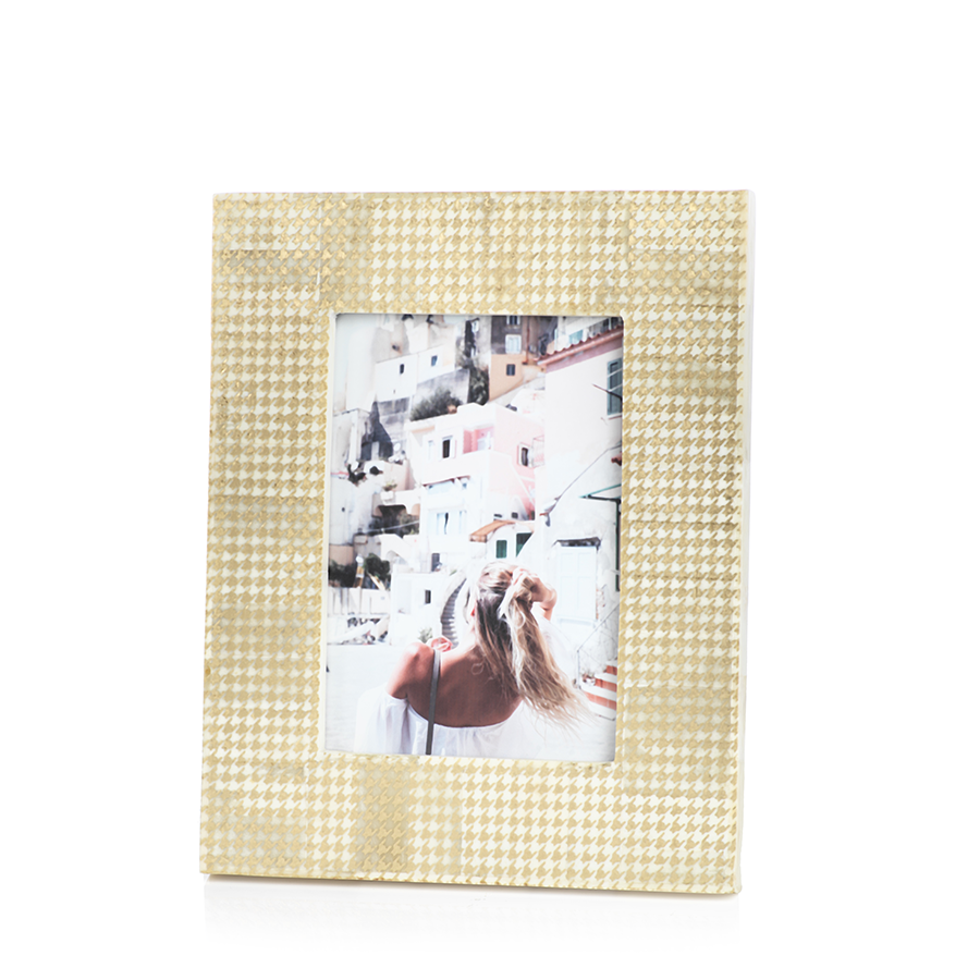 Gold Foil Houndstooth Photo Frame