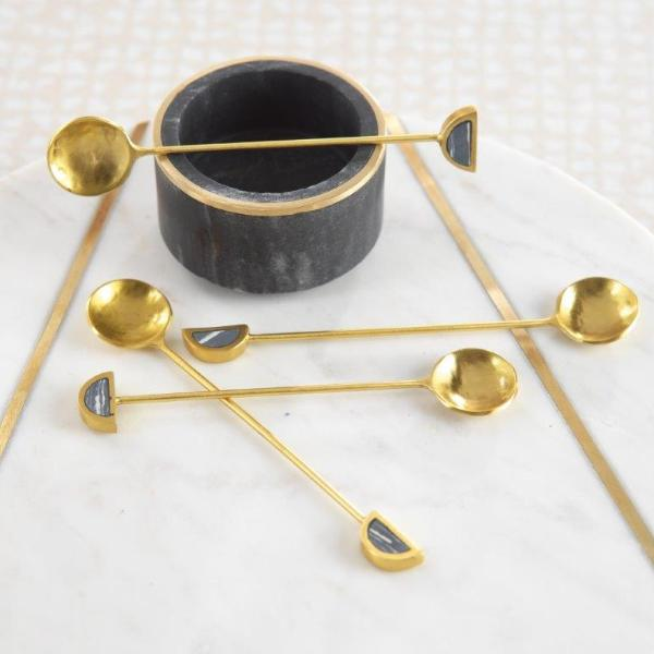 Fez Small Tea Spoons - 1 Set - Gold & Black - CARLYLE AVENUE