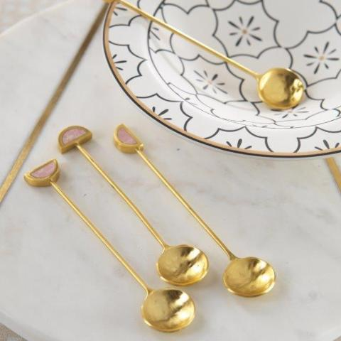 Fez Small Tea Spoons - 1 Set - Gold & Pink - CARLYLE AVENUE