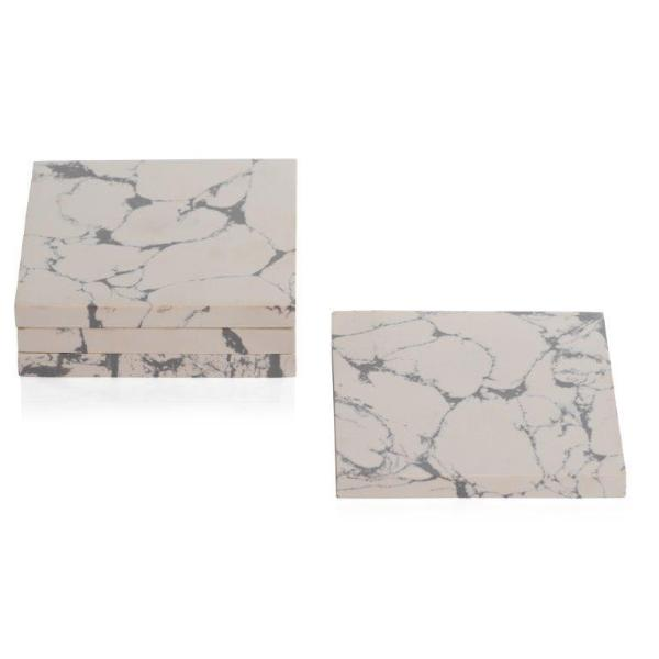 Stonedust Coaster - White - Set of 4 - CARLYLE AVENUE