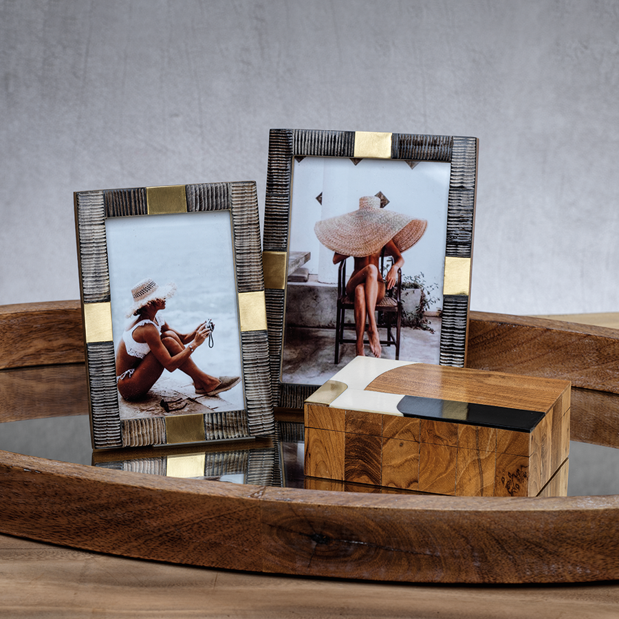 Lagos Horn and Brass Photo Frame