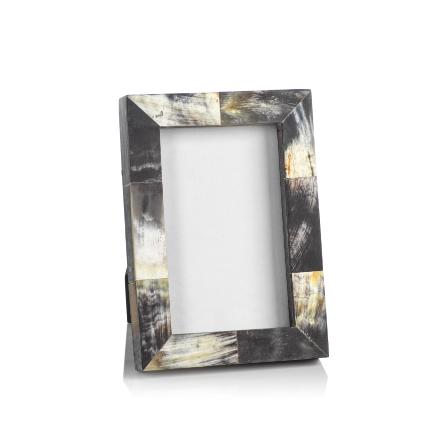 African Black Horn Inlaid Photo Frame