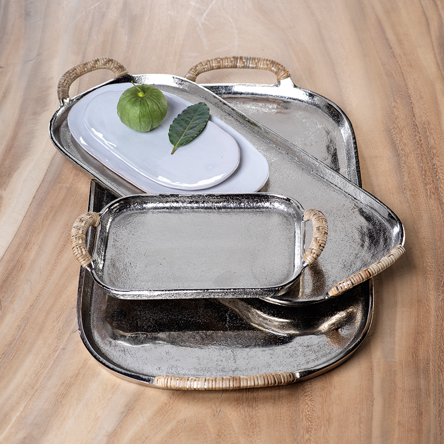 Mauritius Raw Aluminum Tray w/Cane Wrapped Handles