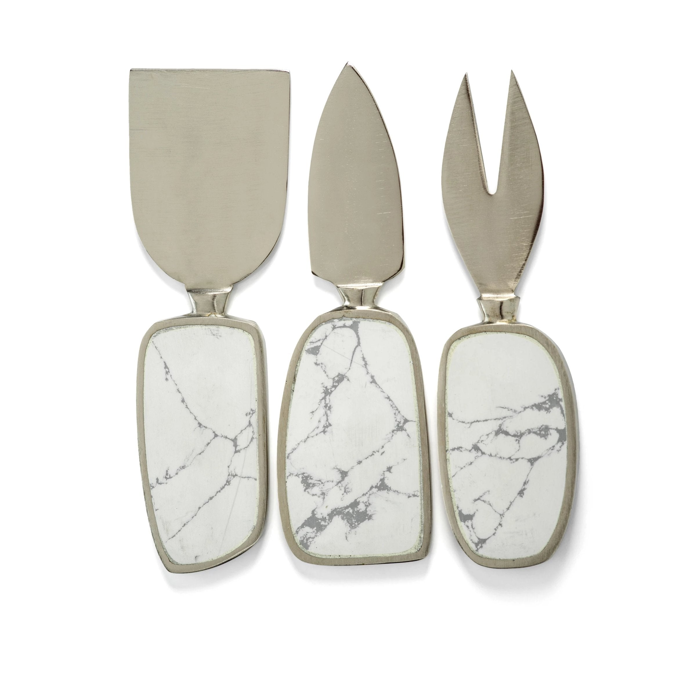 Amalfi Set/3 Cheese Tool Set - White w/ Nickel - CARLYLE AVENUE