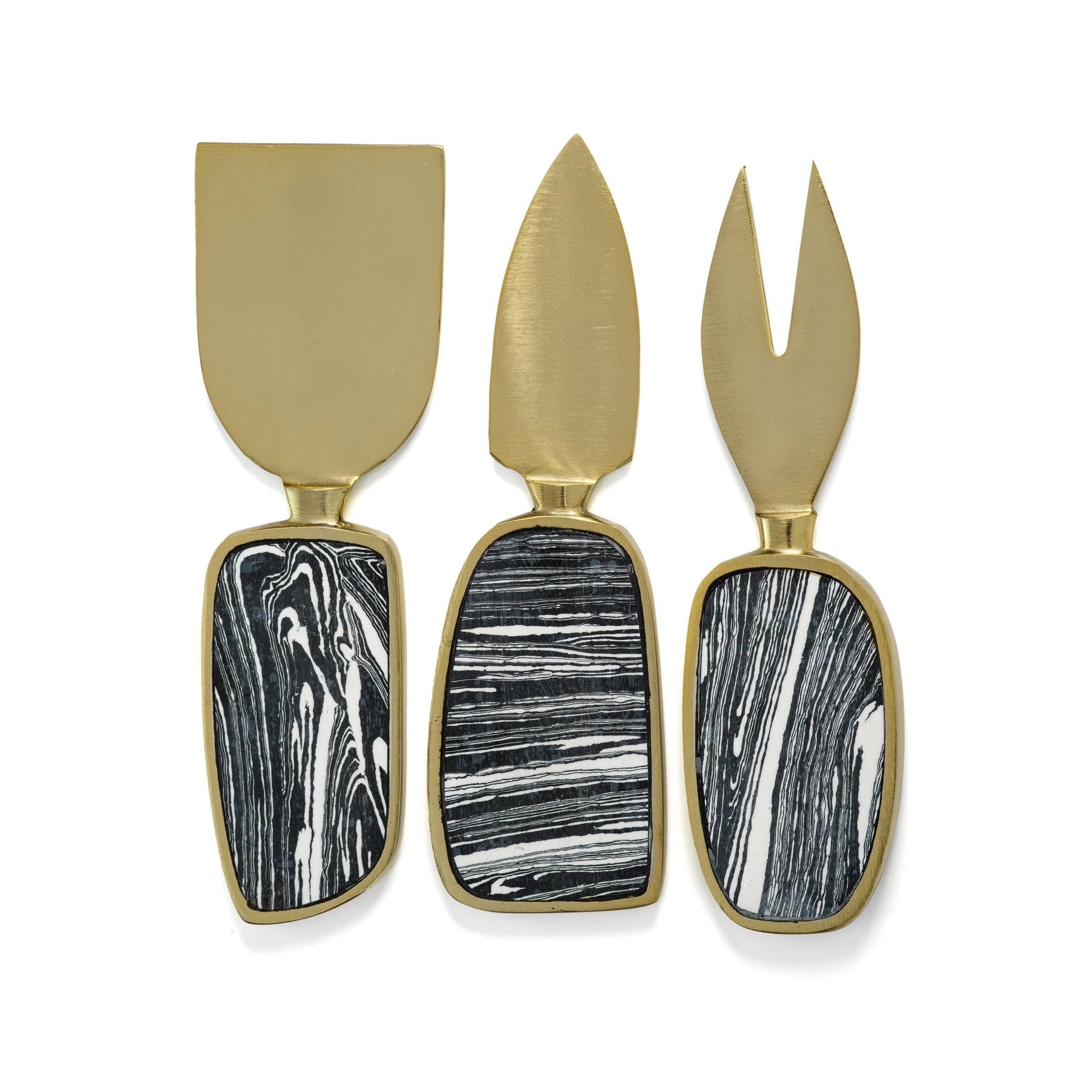 Amalfi Set/3 Cheese Tool Set - Black w/Gold - CARLYLE AVENUE