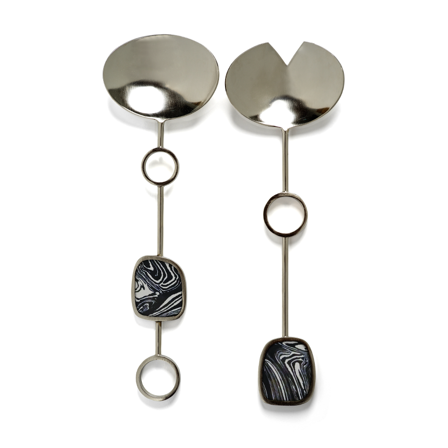 Amalfi Salad Servers - Black with Nickel