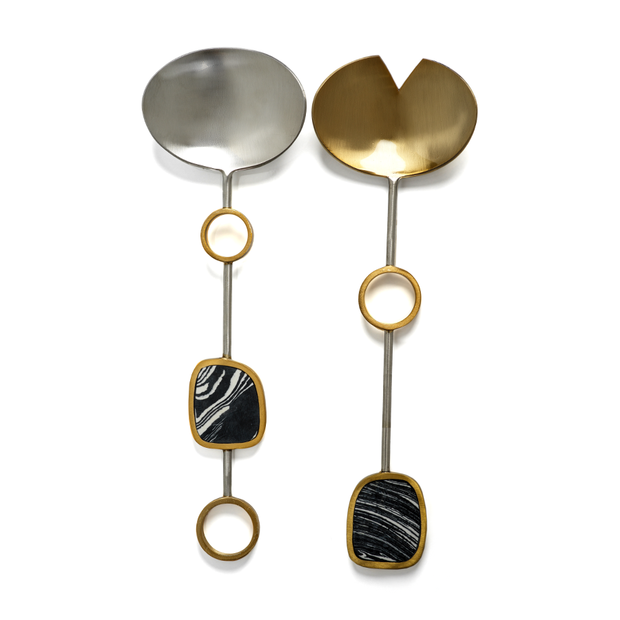Capri Salad Servers - Black with Nickel & Gold