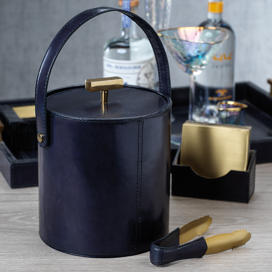 Umbria Leather Ice Bucket and Tong w/Gold Accent
